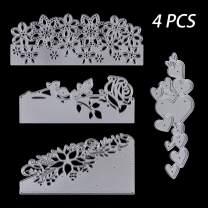 4 Pcs Metal Cutting Dies Stencils, KISSBUTY Criss-Cross Metal Flower Rose Love Scrapbooking Dies Cuts Handmade Stencils Template Embossing for Card Scrapbooking Craft Paper Decor