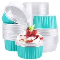 "Aluminum Foil Cups, Eusoar 5oz 50pcs Baking Cups with Lids, 3.34x2.59x2.35"" 125ml Snacks Desserts Flan, Economical Catering Gathering Club Shower Wedding Party Favor Baking Cups-Tiffany Blue"
