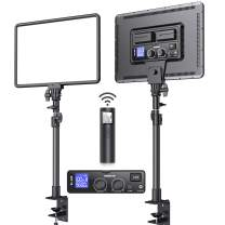Led Video Light Kit, SAMTIAN Desk Mount 17.7'' Soft Light Panel 2-Pack with C-Clamp Stand, 2 Wireless Remote Studio Photography Light Brightness 0-100% CRI>97 for YouTube TikTok Live/Game Streaming