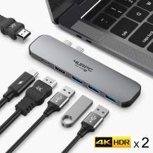 USB C Hub, 4K Dual Monitor Adapter USB Type C Docking Station Compatible for MacBook Pro 2019/2018/2017/2016, MacBook Air 2018/2019/2020 with 2 4K HDMI, 3 USB 3.0, 60W PD Charging