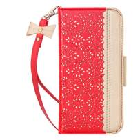 """WWW iPhone 11 Case (6.1 inch),iPhone 11 Wallet Case, [Luxurious Romantic Carved Flower] Leather Wallet Case with [Inside Makeup Mirror] [Kickstand Feature] for iPhone 11 6.1"""" (2019) Red"""