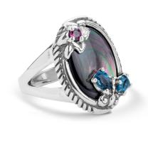 Carolyn Pollack Sterling Silver Gray Mother of Pearl, Rhodolite Garnet and Blue Topaz Gemstone Butterfly Flower Ring Size 05 to 10
