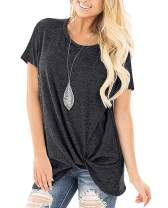 ZILIN Women's Cold Shoulder T-Shirt Short Sleeve Knot Twist Front Tunic Blouse Tops