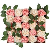 Meiliy 40pcs Artificial Flowers Peony Cream+Blush Pink Rose Heads Real Looking Foam Peonies Bulk w/Stem for DIY Wedding Bouquets Boutonnieres Corsages Centerpieces Wreath Supplies Cake Decorations