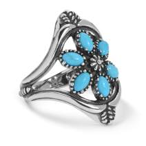 American West Sterling Silver Turquoise Gemstone Cluster Ring Size 5 to 10