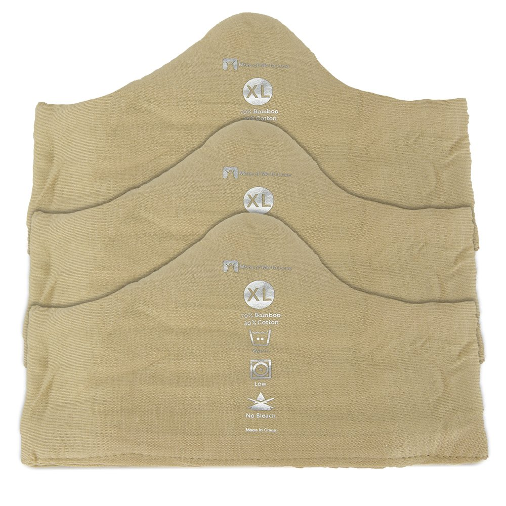 Bamboo Cotton Bra Liners (Beige, 3-pk, XL) - Cozy Dry Soft