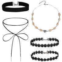 BodyJ4You 5PC Choker Necklace Sea Shell Black Lace Bow Tie Women Girl Fashion Jewelry
