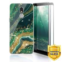 TJS Phone Case for LG Stylo 5/Stylo 5 Plus/Stylo 5V/Stylo 5X, with [Full Coverage Tempered Glass Screen Protector] Ultra Thin Slim TPU Matte Color Marble Transparent Clear Soft Skin (Gold/Green)