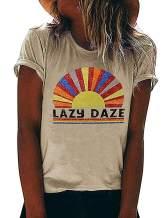 Lazy Daze Shirt Women Rainbow Graphic Tee Short Sleeve Letter Print Funny Tops
