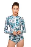 AXESEA Womens Rash Guard Long Sleeve One Piece Swimsuit Ruched Zip Bathing Suit