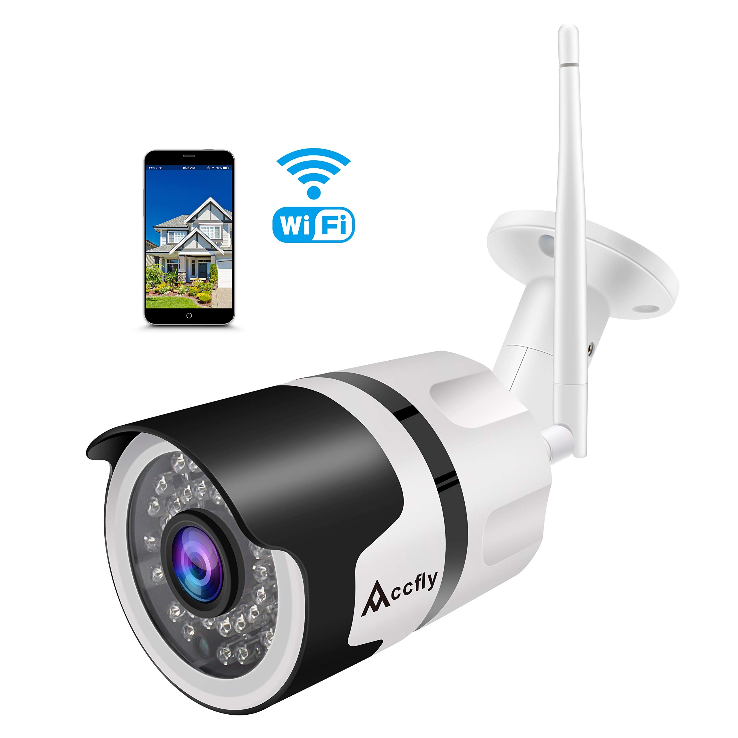 Outdoor Security Camera 1080P HD Wireless WiFi IP Cameras, Home Security Surveillance System Waterproof IR Night Vision Accfly