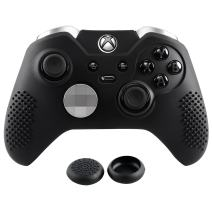 eXtremeRate Soft Anti-Slip Silicone Controller Cover Skins Thumb Grips Caps Protective Case for Microsoft Xbox One Elite Black