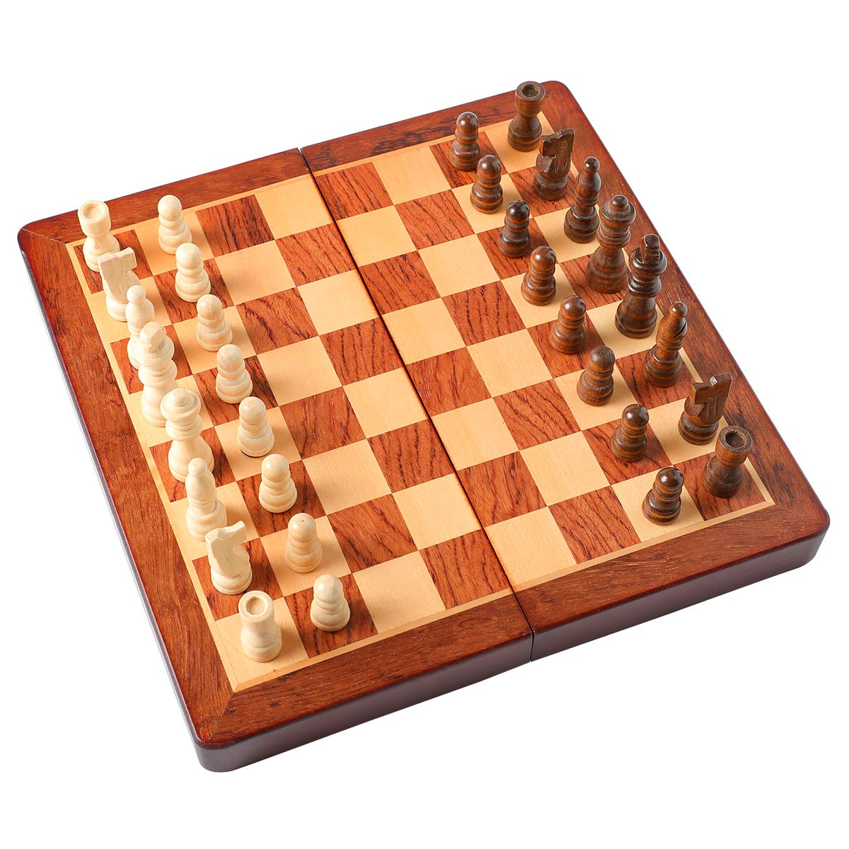 """HOLYKING 9.4"""" Folding Wooden Chess Set - Portable Travel Chess Game Set with Storage Bags"""