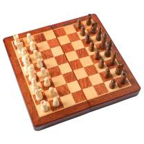 "HOLYKING 9.4"" Folding Wooden Chess Set - Portable Travel Chess Game Set with Storage Bags"