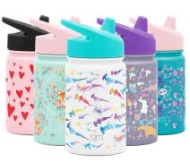 Simple Modern Kids Summit Sippy Cup Thermos 10oz - Stainless Steel Toddler Water Bottle Vacuum Insulated Girls and Boys Hydro Travel Cup Flask -Watercolor Sharks Purple