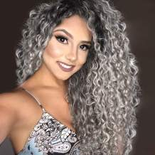 Vigorous Long Curly Wig Ombre Silver Grey Lace Front Wigs for Women Pre Plucked 13x6 Deep Part Synthetic Wigs With Baby Hair Dark Roots Gray Wigs for Daily Party Use
