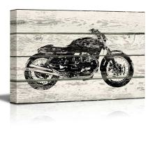 wall26 - Woodcut Stencil Motorcycle Artwork - Rustic Canvas Wall Art Home Decor - 24x36 inches