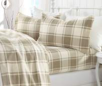 Great Bay Home Super Soft Extra Plush Plaid Fleece Sheet Set. Cozy, Warm, Durable, Smooth, Breathable Winter Sheets with Plaid Pattern. Dara Collection Brand. (Twin XL, Taupe)