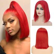Short Bob Lace Front Wigs Human Hair 13x4 Lace Frontal Pre Plucked Bleached Knots 100% Brazilian Real Remy Hair Bob for Black/White Women Middle Part Glueless Silky Straight 180% Density Red 10 Inch