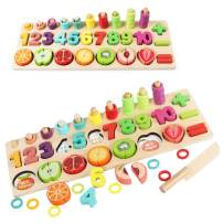YYoomi Wooden Blocks Puzzle Board Set with Cutting Fruits/ Number Counting/ Colors Stacking/ Shape Sorting for Kids & Toddlers & Preschoolers Gift Early Education Toy