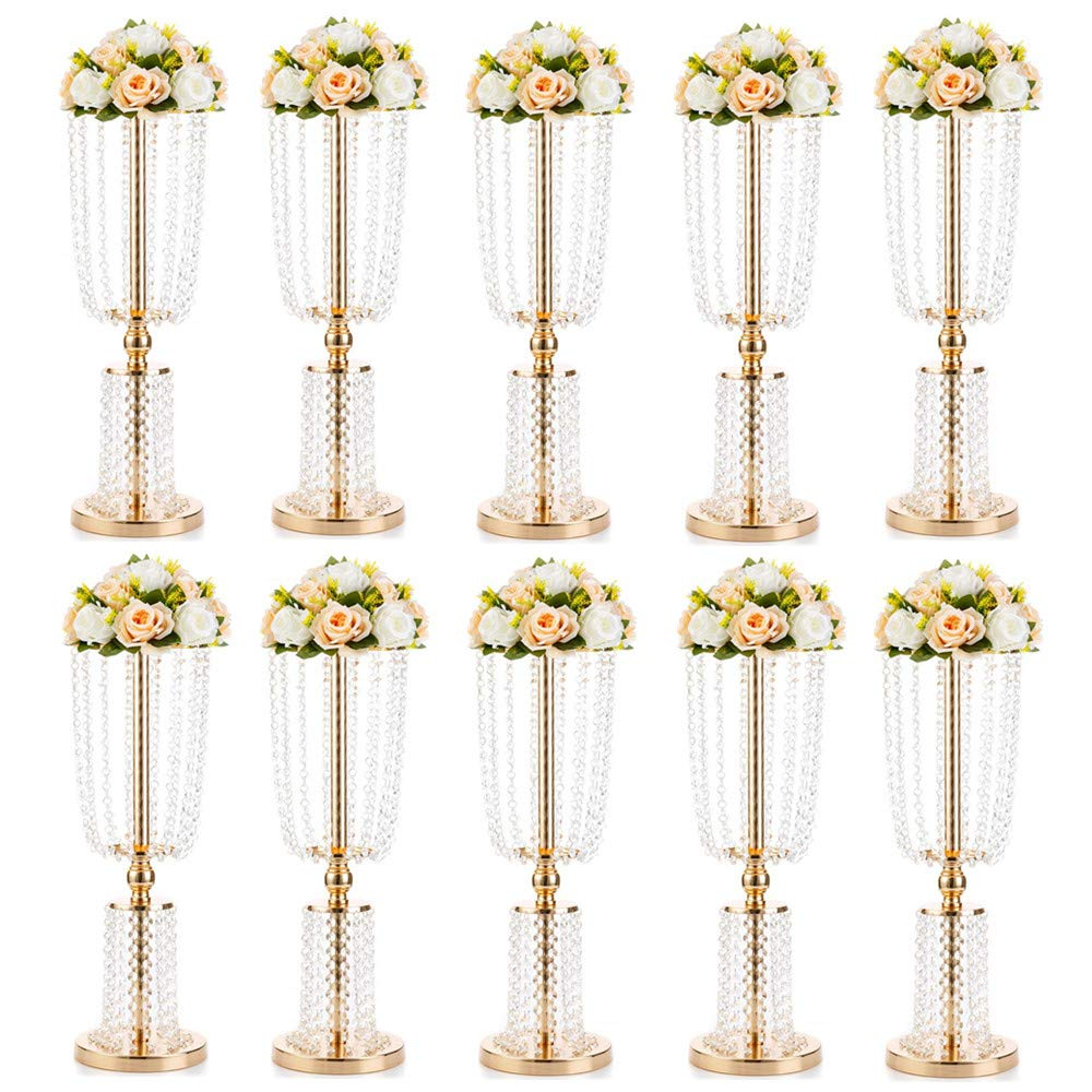 10 Pcs 23.75 inches Gold Vases for Centerpieces Tall Crystal Metal Vase Flower Stand Holders Wedding Centerpiece Chandelier for Reception Tables Wedding Supplies