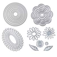 4 Sets / 27 PCS Metal Cutting Dies Stencil for Card Making Scrapbooking DIY Album Paper, TuNan Carbon Steel Template Molds, Embossing Tool for Envelope Gift Box - Flowers, Leaves, Circle, Oval