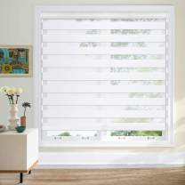 """Keego Cordless Window Blinds Free-Stop Zebra Blinds Horizontal Dual Layer Roller Shades Sheer or Privacy Window Shade [Snow-White, 27"""" W X 48"""" H]"""