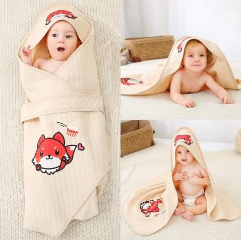Alcea Rosea Unisex-Baby Newborn Fox Print Hooded Baby Blanket Organic Cotton Wearable Blanket Sleep Bag Blanket Sleeper for Baby (Fox)