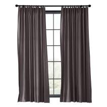 TWOPAGES Wide Width Curtain Flame Retardant Fireproof Curtain Blackout Thermal Insulated Fire Resistant Curtain Window Drape (Chocolate, 1 Panel, W120 x L84 Inches)