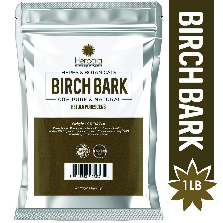 Birch Bark, 1 Lb - Natural Source of Betulin (Immune Booster, Tonic & Detoxifier) Cut & Sifted Birch Bark Tea, Wholefood Supplement in Bulk Resealable Bag, Non-GMO