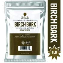 Birch Bark, 1 Lb - Natural Source of Betulin (Immune Booster, Tonic & Detoxifier) Cut & Sifted Birch Bark Tea, Wholefood Supplement in Bulk Resealable Bag, Non-GMO