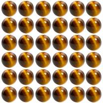 Natural Stone Beads 100pcs 8mm Tiger Eye Round Genuine Real Stone Beading Loose Gemstone Hole Size 1mm DIY Charm Smooth Beads for Bracelet Necklace Earrings Jewelry Making (Tiger Eye)