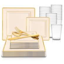 360 Piece Elegant Disposable Plastic Dinnerware Set for 60 Guests - Fancy Square Ivory with Gold Rim Dinner Plates, Dessert Plates, Silverware Set & Cups For Wedding, Easter, Birthday & All Occasions