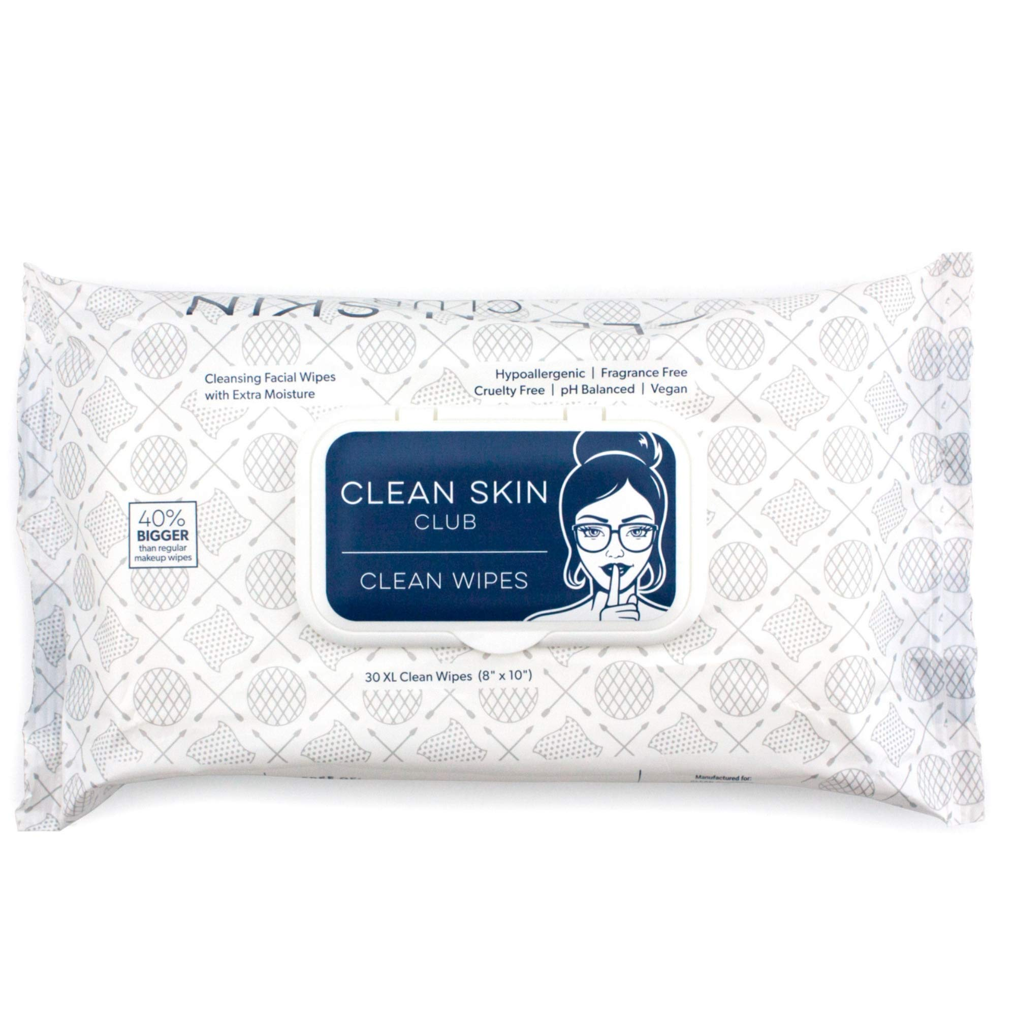 Clean Skin Club - XL Clean Wipes | Extra Moist Makeup Removing Towelettes | 30 Count | Facial Cleansing Cloth | Cruelty Free & Vegan | Fragrance Free | NO Alcohol or Chemicals | GMO & Paraben Free