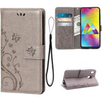 Wallet Case for Samsung Galaxy M20 Card Holder Embossed Butterfly Flower PU Leather Magnetic Flip Cover for Samsung Galaxy M20 (Grey)