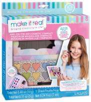 Make It Real - Girl-on-The-Go Cosmetic Compact. Girls Makeup Kit is a Perfect Starter Cosmetic Set for Kids and Tweens. Includes Cat Design Makeup Case, Compact Mirror, Eyeshadow, Blush and Lip Gloss