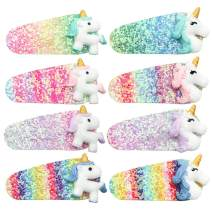 Oaoleer Unicorn Glitter Hair Bows Clips for Baby Girls Boutique Sequins Hairclips Princess Hairgrips Accessories