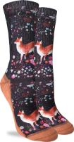 Good Luck Sock Women's Floral Fox Crew Socks - Black, Adult Shoe Size 5-9
