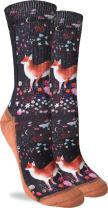 Good Luck Sock Women's Floral Fox Crew Socks - Black, Adult Shoe Size 5-9