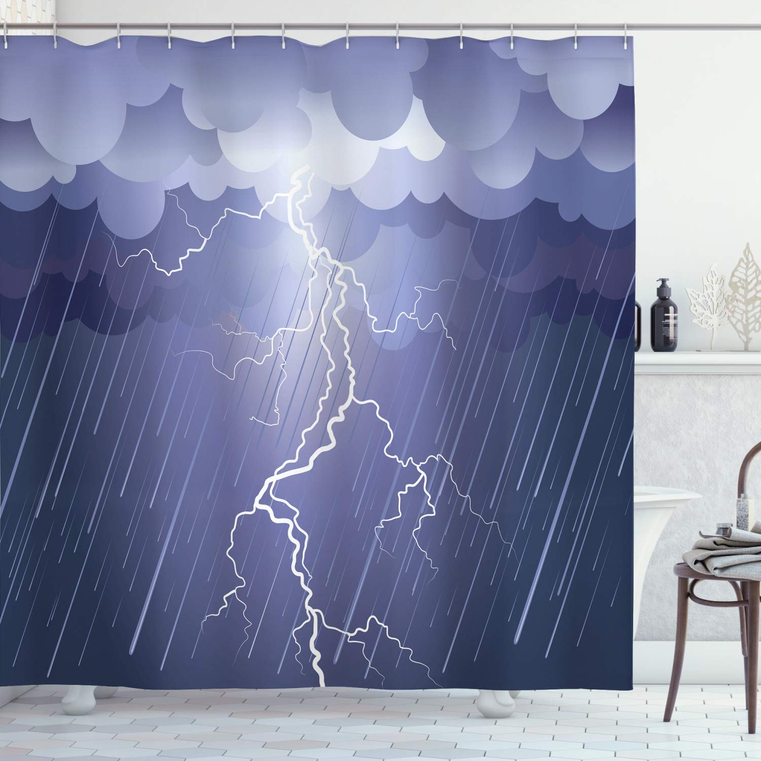 """Ambesonne Night Shower Curtain, Lightning Strike Thunderstorm in The Air at Dark Night Rainy Electric Force Bolts Image, Cloth Fabric Bathroom Decor Set with Hooks, 70"""" Long, Lavander"""
