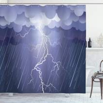 """Ambesonne Night Shower Curtain, Lightning Strike Thunderstorm in The Air at Dark Night Rainy Electric Force Bolts Image, Cloth Fabric Bathroom Decor Set with Hooks, 75"""" Long, Lavander"""
