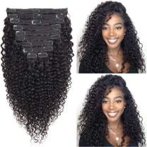 Jiarosi Jerry Curly Clip in Hair Extensions, 16 inch 3B 3C Curly Hair Clip in Extensions ,Thick 8A Real Brazilian Remy Human Hair Curly Clip ins for Black Women, 1B Lace Weft Hair (16)