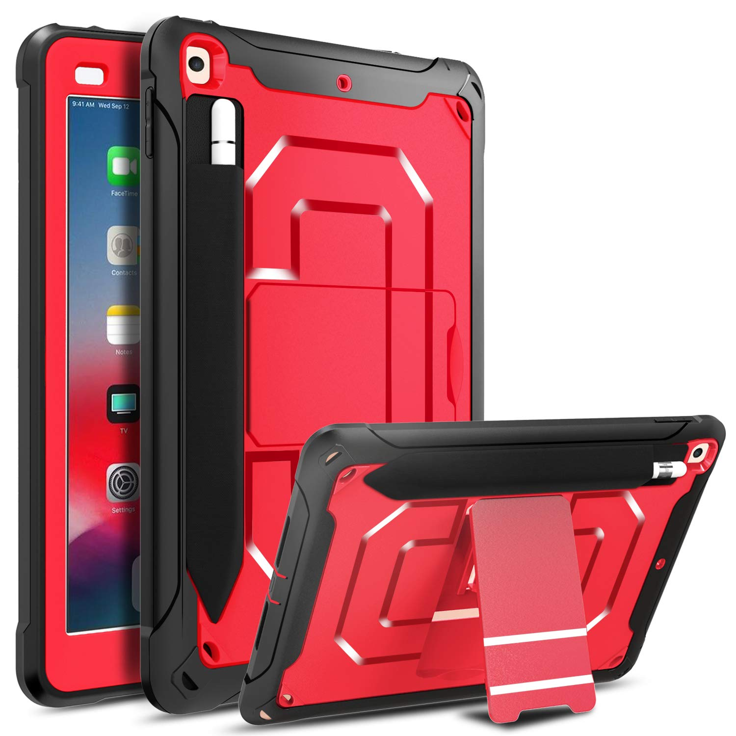 DONWELL Compatible iPad 5 iPad 6 Case 9.7 inch 2018/2017 Shockproof Defender Protective Cover with Pencil Holder and Kickstand Designed for iPad 5th 6th Generation Model A1823 A1822 A1893 (Red)