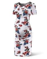 Rnxrbb Women's Maternity Summer Short Sleeve Dress Bodycon Casual Side Ruching Dresses with Solid Color or Floral