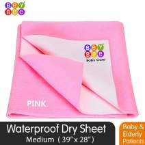 "Bey Bee Dry Sheets for Baby/Underpads/Baby Sheet Protector/Medium Size Crib Bed Protectors 39""x28"", 8 Times Absorbency, Washable Waterproof Mattress Protector, (Medium 39""x28"") Pink"