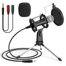 Podcast Recording Microphone, PEMOTech 3.5mm Phone Computer Microphone with Stand, Condenser Recording Microphone for Singing, Plug & Play PC Microphone for YouTube/Gaming/Live Stream/Broadcast