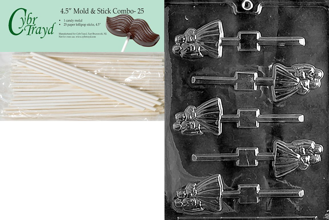 Cybrtrayd 45St25-W024 Bride and Groom Lolly Wedding Chocolate Candy Mold with 25-Pack 4.5-Inch Lollipop Sticks