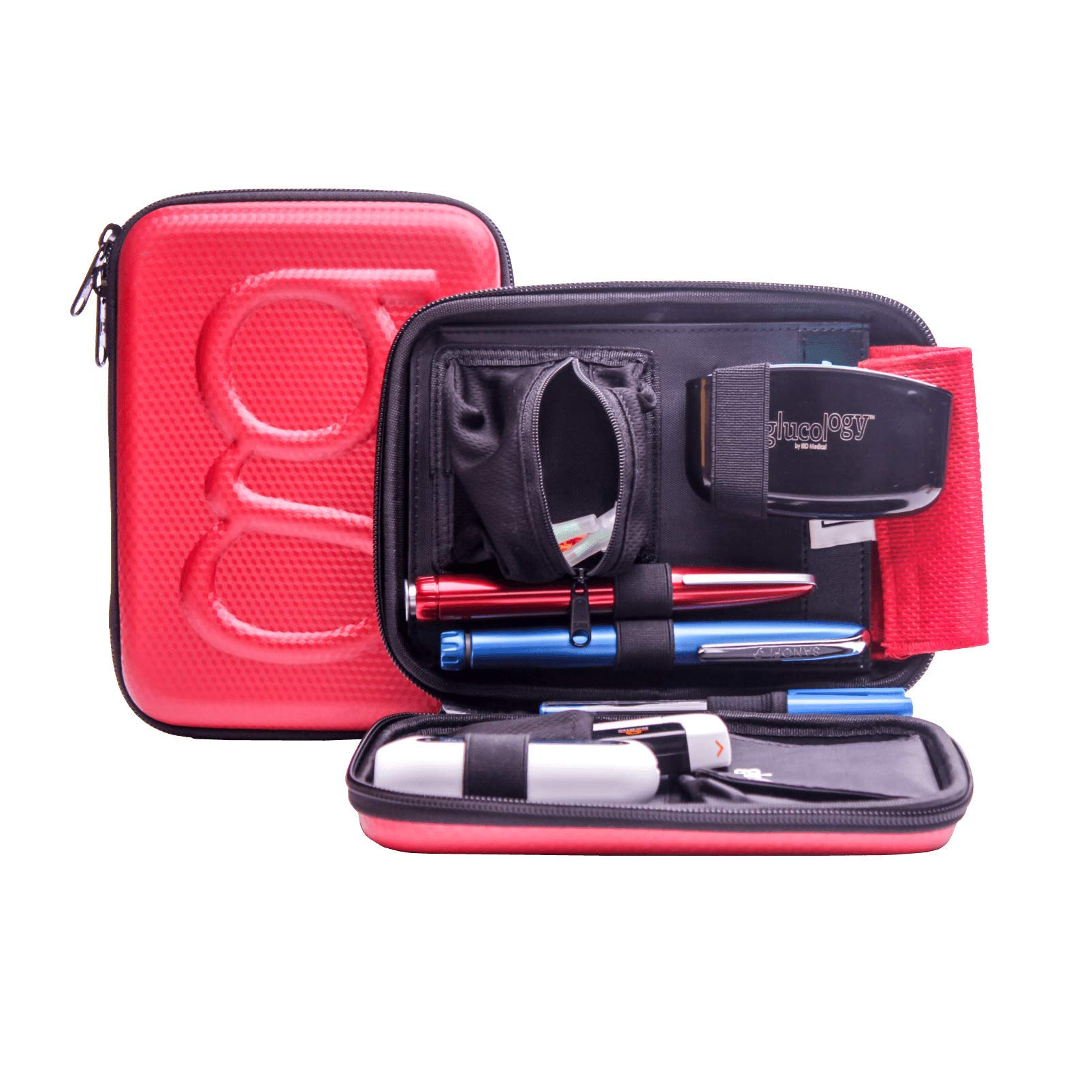 Glucology™ Diabetic Travel Case - Organizer Pack for Blood Sugar Test Strips, Medication, Glucose Meter, Pills, Tablets, Pens, Insulin Syringes, Needles, Lancets - Hard Shell - Standard, Textured Red