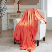 PINKCOSER Fleece Blanket with Pompoms Lightweight Cozy Bed Blanket Soft Throw Blanket fit Couch Sofa Living Room Bedroom Decor Size50x60inches,Orange