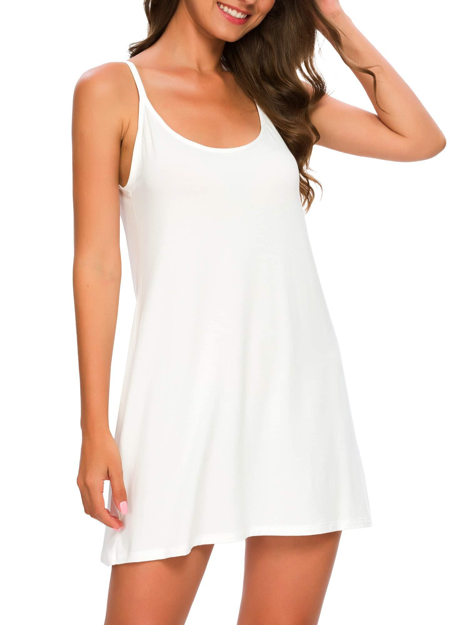 TIKTIK Womens Sexy Modal Comfy Nightgown Full Slip Chemise Sleep Shirt Plus Size S-4XL